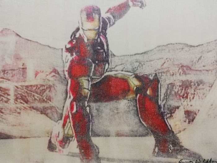 IRON MAN - Original artwork on a wooden plate - Size: 29,8 x 42 cm. - First edition - (2018)