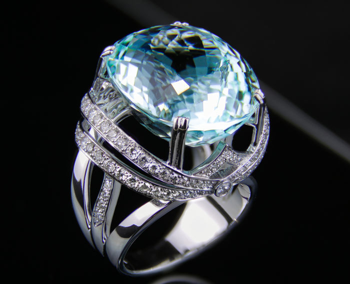 34.40 ct. Tourmaline Paraiba And Diamonds Gold Ring. GIA Certified.