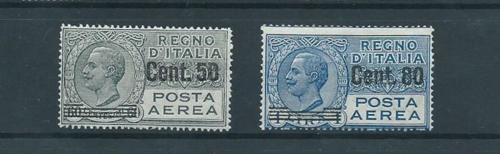 Italy 1927 - Airmail, stamps of '26 overprinted. - Sassone 8/9