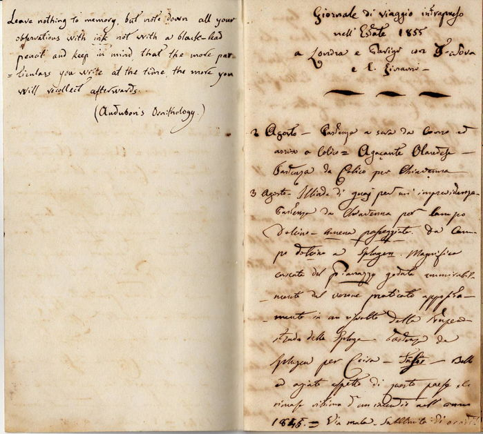 Nicola Alborghetti Count - Autograph; Travel Diary (not signed) London & Paris from Italy - 1855