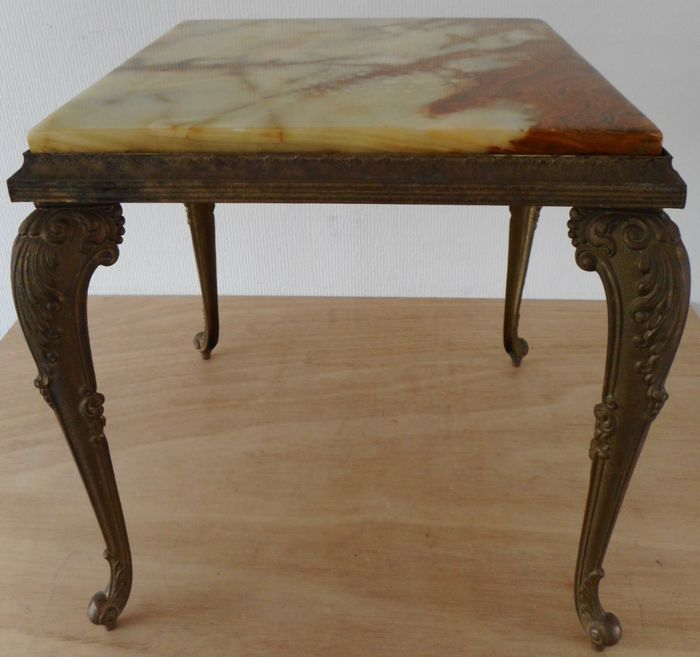 Side table, marble, brass, second half 20th century, France
