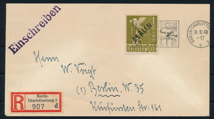 Berlin 1948 - 1 mark, black overprint with Berlin Airlift postmark auf Einschreibe Brief,  Michel 17