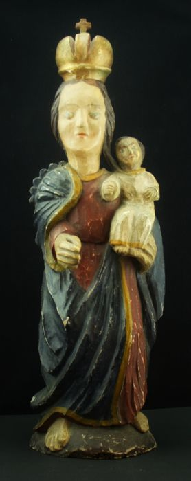 Large polychrome wooden statue of Madonna with Child, XVIII century, Catalan school