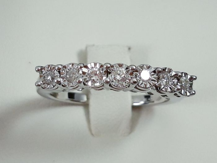 18 kt. White gold - Ring - 0.21 ct Diamond