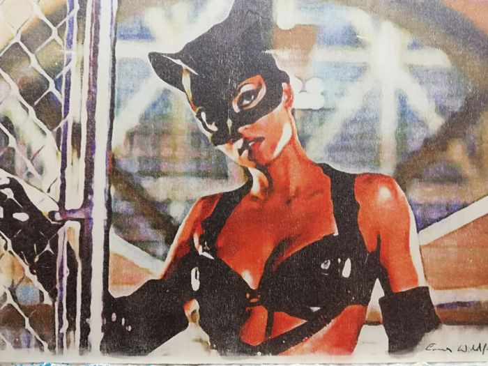 CATWOMAN - Original artwork on a wooden plate - Size: 29,7x42 - First edition - (2018)