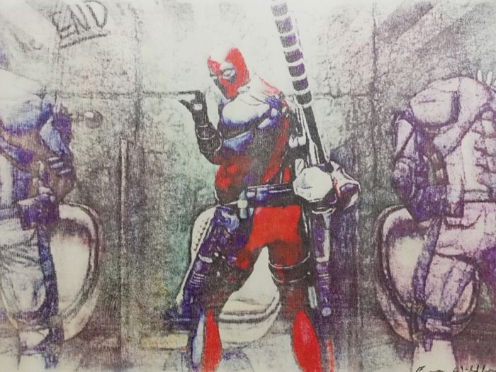 DEADPOOL - Original artwork on a wooden plate - Size: 29,8 x 42 cm. - First edition - (2018)