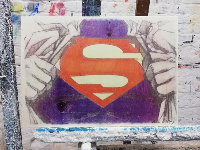 SUPERMAN - Original artwork on a wooden plate - Size: 29,8 x 42 cm. - First edition - (2018)