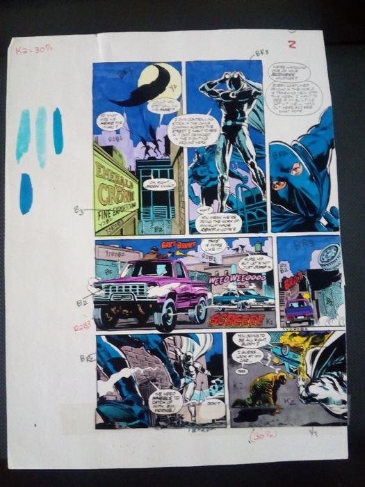 moon knight 8 - Original hand coloured / inked page with corection - Other - (1992)