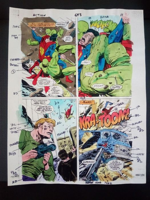 superman : action comics 698 - Original hand coloured / inked page with corection - Other - (1996)
