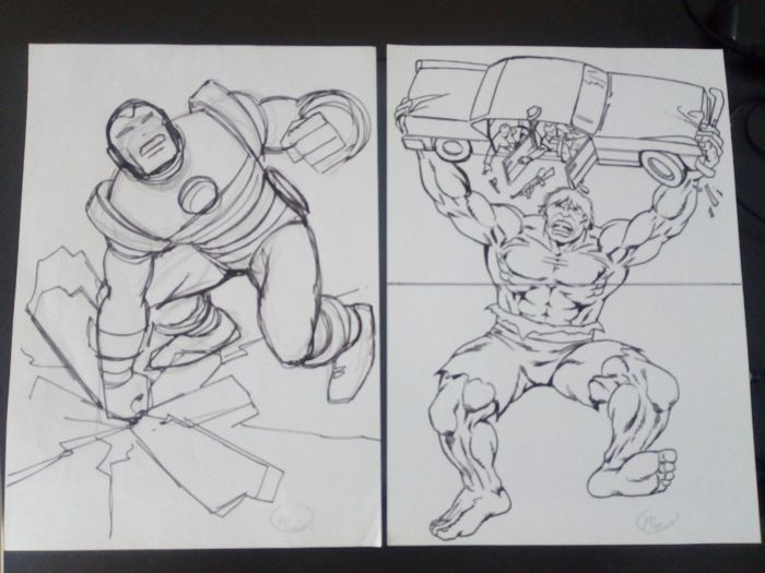 avengers - lot de 2 dessins praparatoires marvel - Other - (2015)