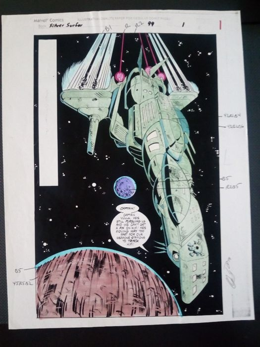 silver surfer 99 - Original hand coloured / inked page with corection - Other - (19894)