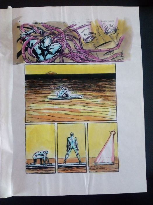 silver surfer 142 - Original hand coloured / inked page with corection - Other - (1998)