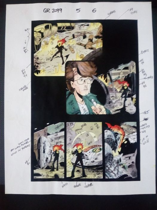 Ghost rider 2099 5 - Original hand coloured / inked page with corection - Other - (1997)