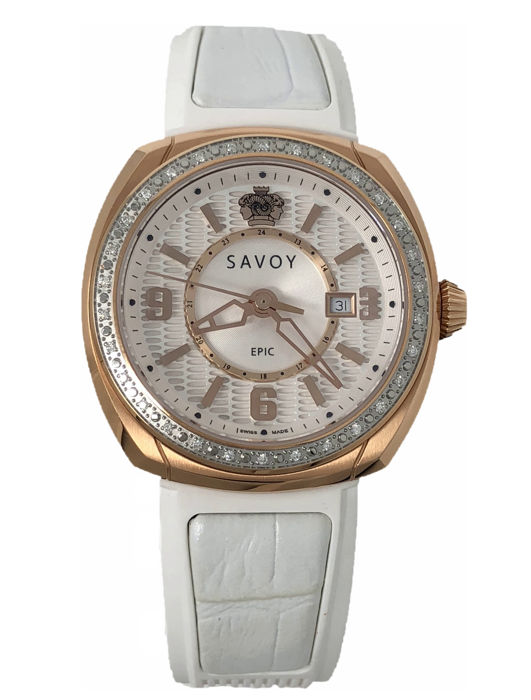 Savoy - Savoy Epic Diamond Rose Gold White Rubber band Swiss Made  - G4004J.01B.RB06 - Dames - 2011-heden
