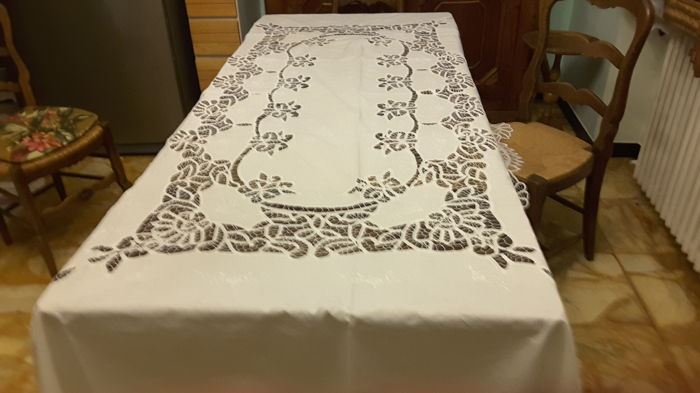 Large hand-embroidered tablecloth