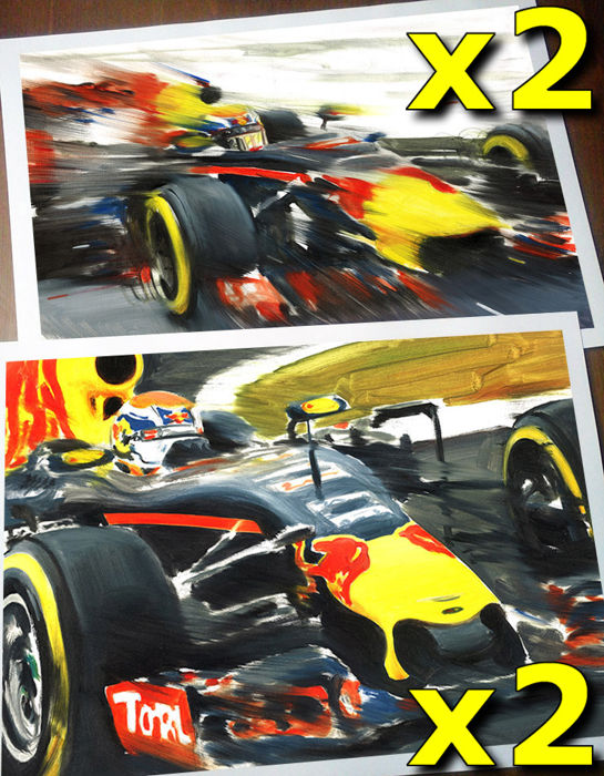 Max Verstappen Red Bull Racing F1 Car 4 Art Prints Posters Hand