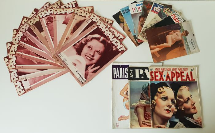 Vintage; Lot with 23 erotic magazines from France - ca 1930/1951