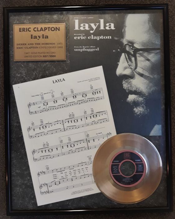 "Eric Clapton: A Rare Limited Edition Gold Record Award for The 45 RPM ""layla""  by Derek & The Dominos with Music & Lyrics - With COA"