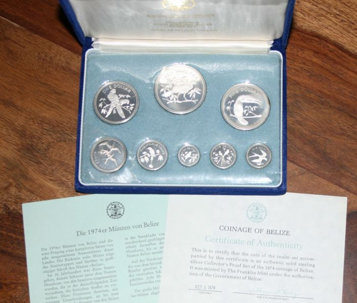 Complete Set Of Coins Of Belize Solid Sterling Silver Franklin