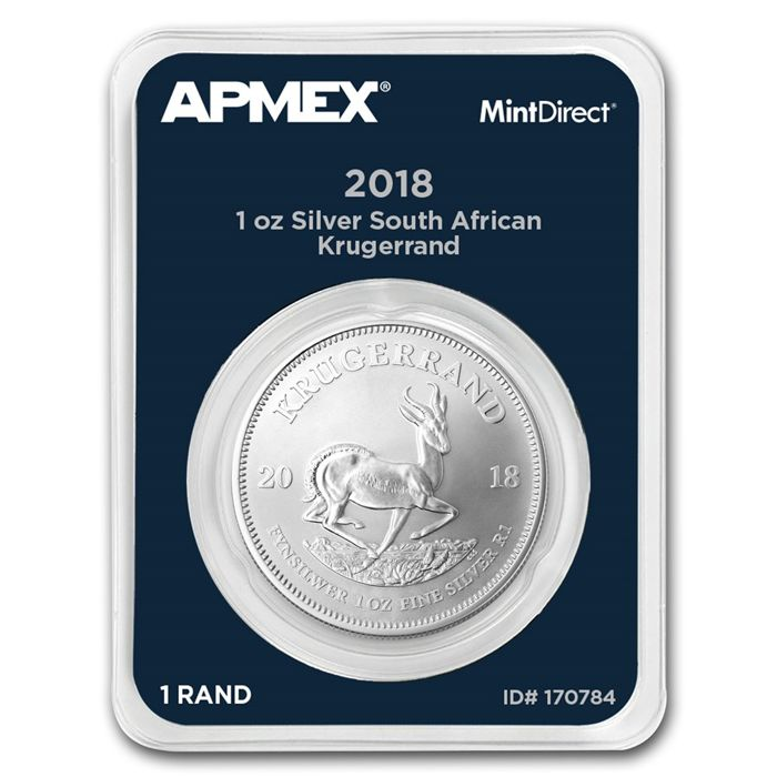 South Africa - 1 Rand - Rand Refinery - 1 oz Krugerrand 2018 - 999 - silver - quality tested in MintDirect slap