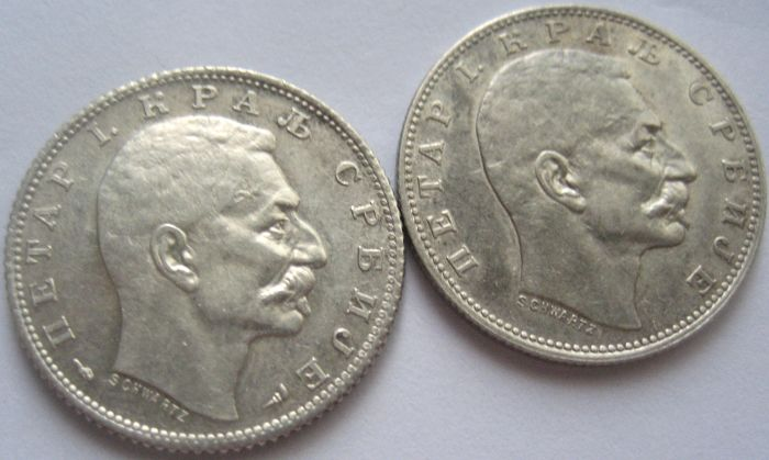 Serbia  -  Petar I 1 Dinar 1912 and 1915 ( near mint state ) - Zilver