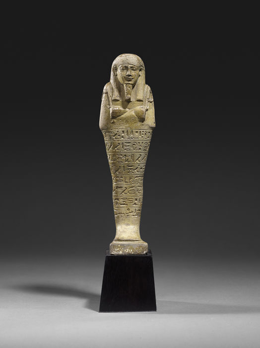 Oud-Egyptisch Faiance  shabti for Hormaakherou son of Meret-Neith, a royal scribe - Height: 18.5 cm