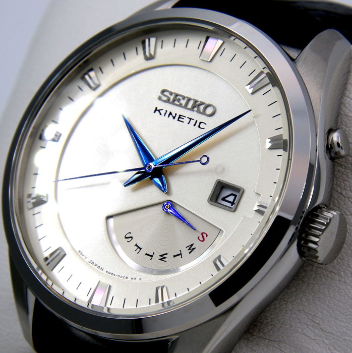 """Seiko - Kinetic Day/Date """"Blue Hands""""- New - Men - 2011-present"""