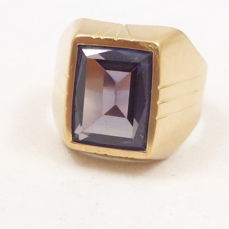 18 kt rose gold vintage men's ring set with synthetic alexandrite - No reserve price
