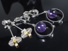 1970s modern earring clips silver with amethyst spinel