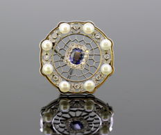 Art Deco Platinum brooch with blue sapphire, diamonds and freshwater pearls, Made in France Circa 1920's