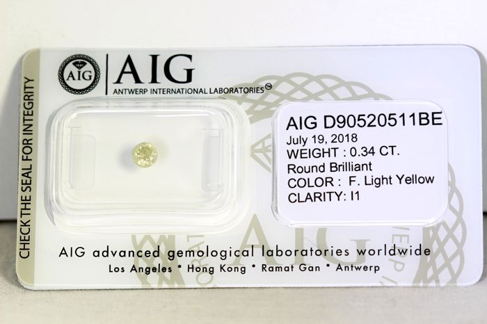 * NO RESERVE PRICE * -  AIG Diamond - 0.34 ct - Fancy Light Yellow