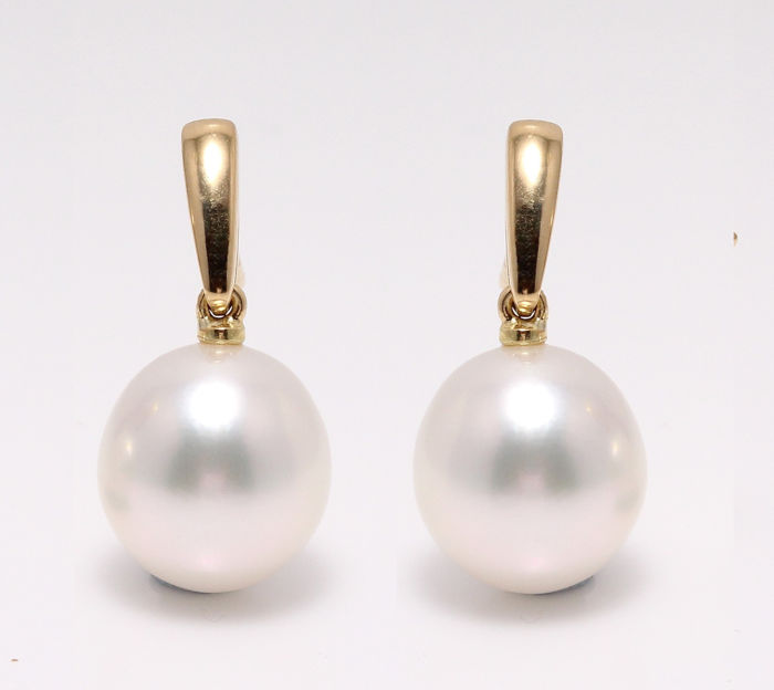 NO RESERVE PRICE - 14 kt. Yellow Gold- 9x10mm South Sea Pearls - Earrings