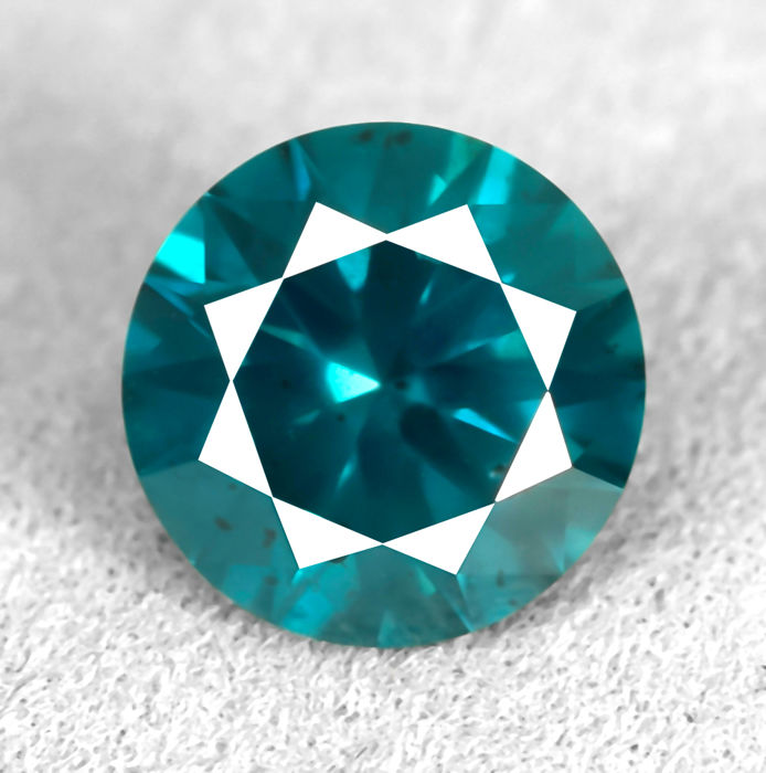 Diamond - 1.30 ct - Brilliant - Fancy Intense Greenish Blue (treated) - Si2 - NO RESERVE PRICE - EXC/VG/VG