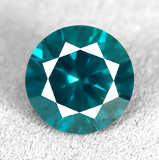 Diamant - 1.30 ct - Brilliant - Fancy Intense Greenish Blue (treated) - Si2 - NO RESERVE PRICE - EXC/VG/VG