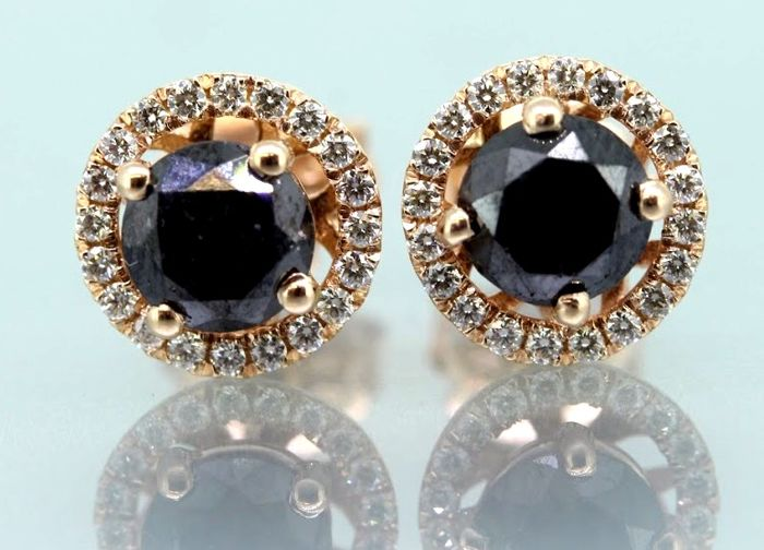 14 kt rose gold stud earrings set with black diamonds, 1.80 ct & 40 brilliant cut diamonds - No reserve price