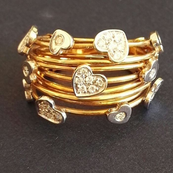 18 kt gold ring with brilliant cut diamonds for 0.40 ct, colour H, clarity VS