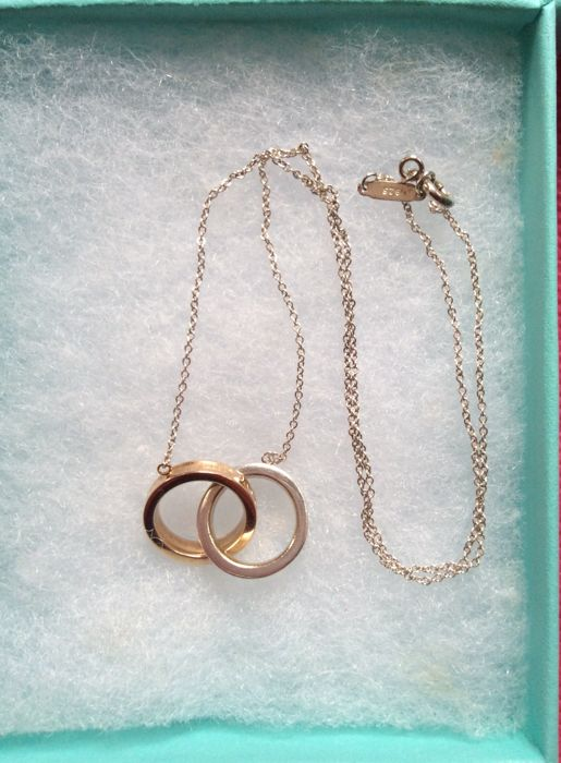 """Tiffany & Co. 1837 18K Gold & Sterling Silver Interlocking Circles Necklace -16"""""""