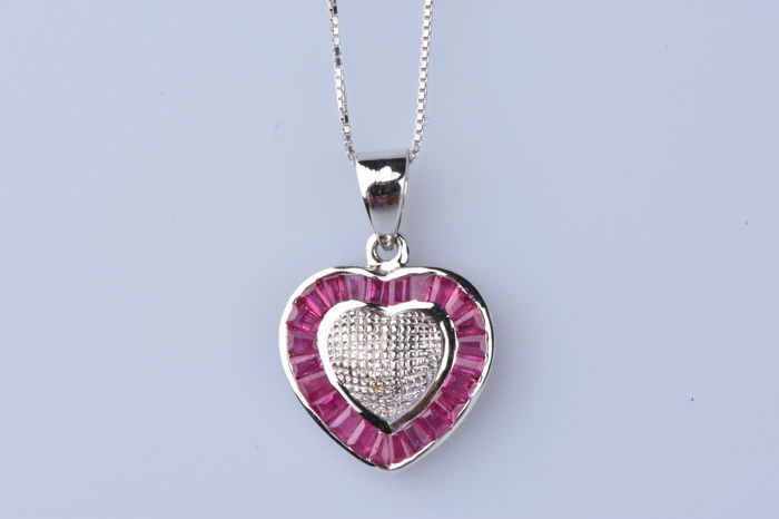 18 kt. White gold - Necklace - Ruby