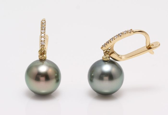 NO RESERVE PRICE - 18 kt. Yellow Gold- 10x11mm Round Peacock Tahitian Pearls - Earrings - 0.11 ct