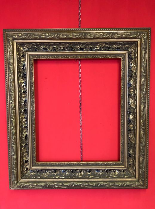 Wooden Museum Frame 20th Century Italian Wooden Frame With Putty