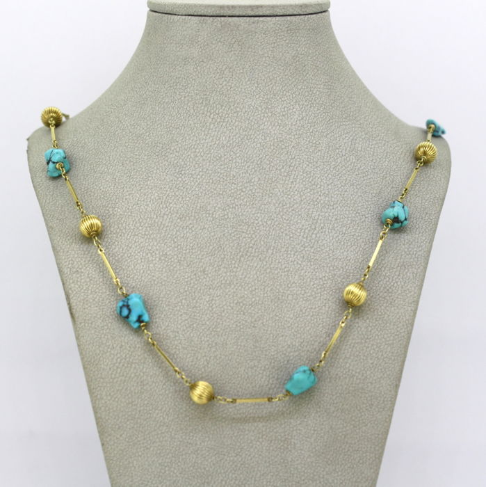 Vintage ladies 14k yellow gold and turquoise  - Necklace