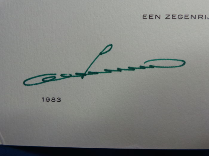 christmas card from queen juliana prince bernhard with signatures from 1983 - Christmas Card Signatures
