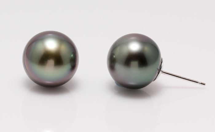 Earrings - White Gold - 11x12mm Tahitian Pearls