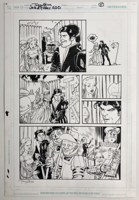 Jack of Fables # 21 page 5 - Original art by Tony Akins  - & Andrew Pepoy - Page volante - Art original - (2007)