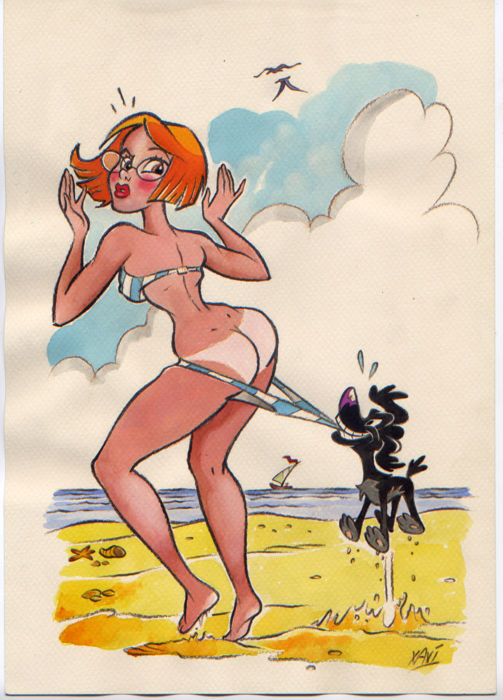 Xavi (Xavier Vives Mateu) - Original drawing - Pin-Up beach dog - (2010)