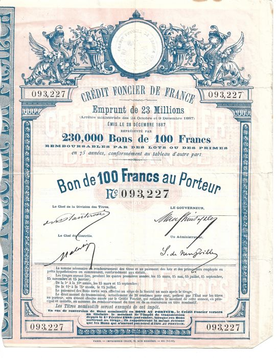 "3 shares:  1 share of 100 Francs of the ""Crédit foncier de France"" 1887 and 2 vouchers of 25 francs from 1889 world exhibition"