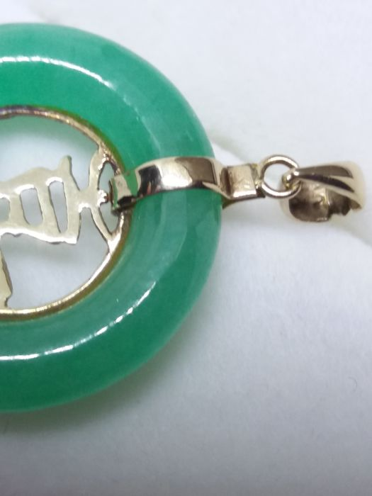 Chinese Granny Smith Apple Jade With Gold Chinese Symbol Pendant