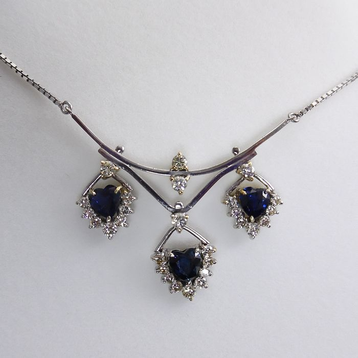 18 kt. White gold - Necklace - 1.65 ct Sapphire - Diamonds