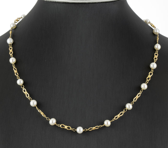 Gold 18 kt - Necklace - Akoya pearls measuring 6 mm (approx.)