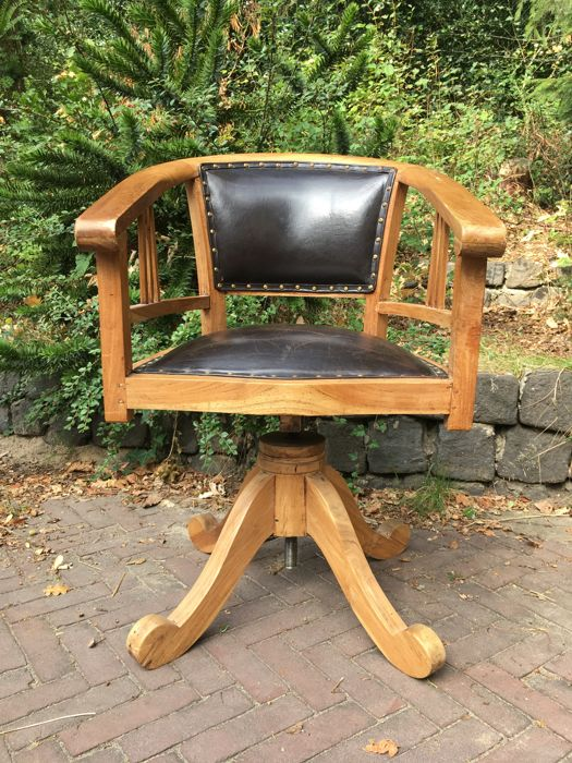 Desk chair made of wood and leather- adjustable In height with a screw - Circa & Desk chair made of wood and leather- adjustable In height with a ...